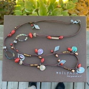 N2116 retired Silpada Coral Mixed Stone necklace